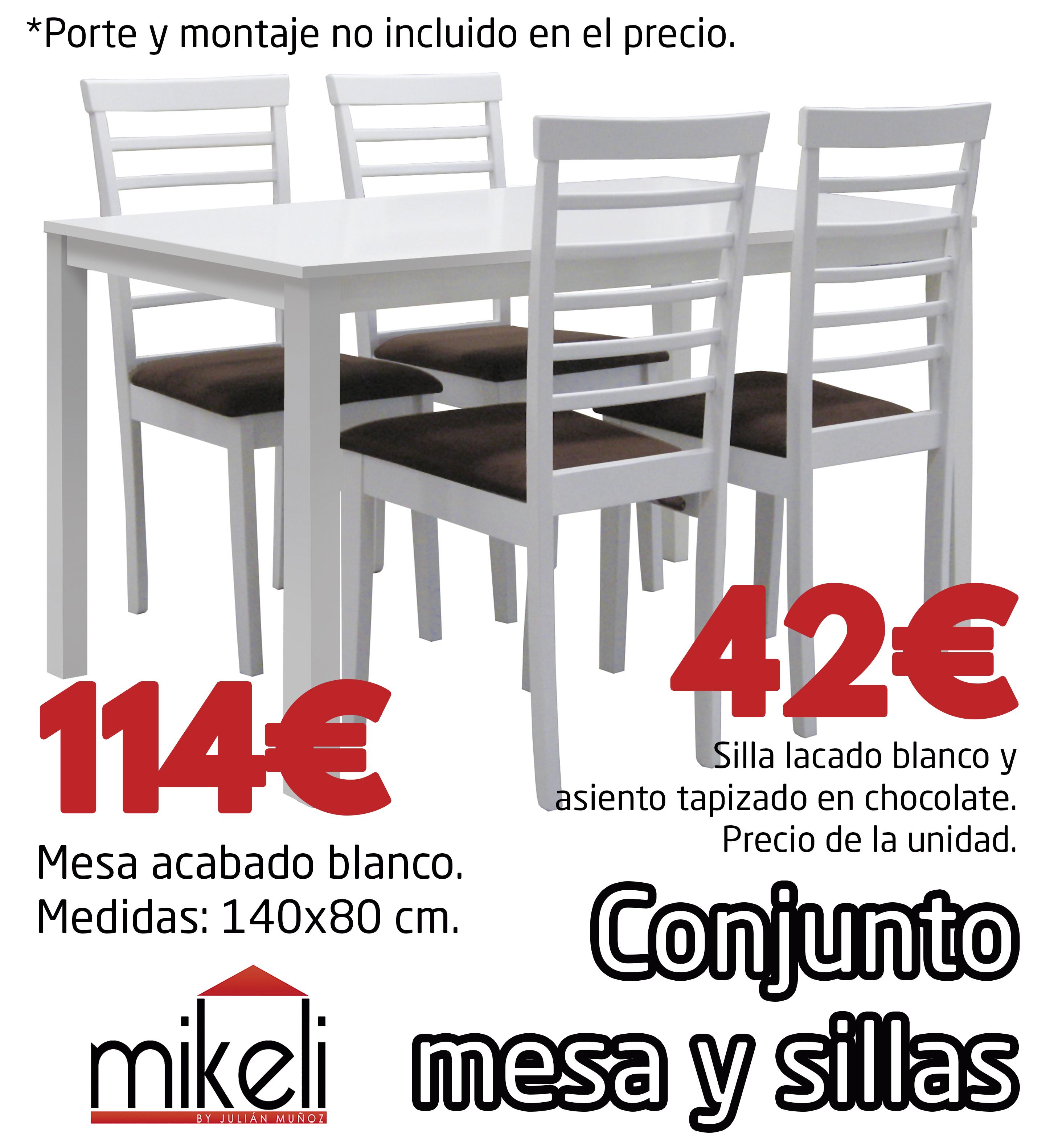 Conjunto Mesa Y Sillas Blanco Gilabert Mikeli Tu Tienda De  # Muebles Gilabert