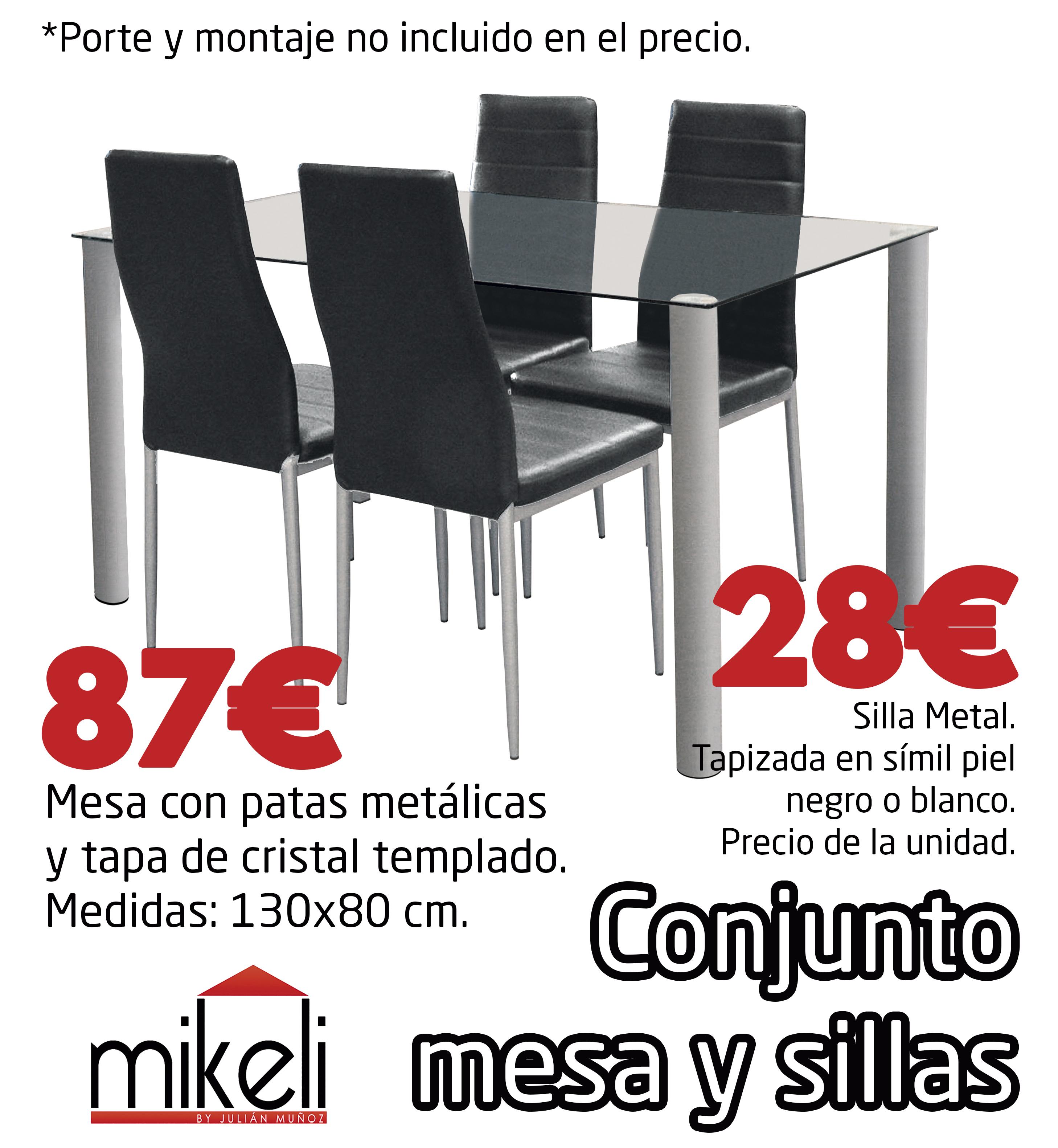 Conjunto Mesa Y Sillas Cristal Gilabert Mikeli Tu Tienda De  # Muebles Gilabert