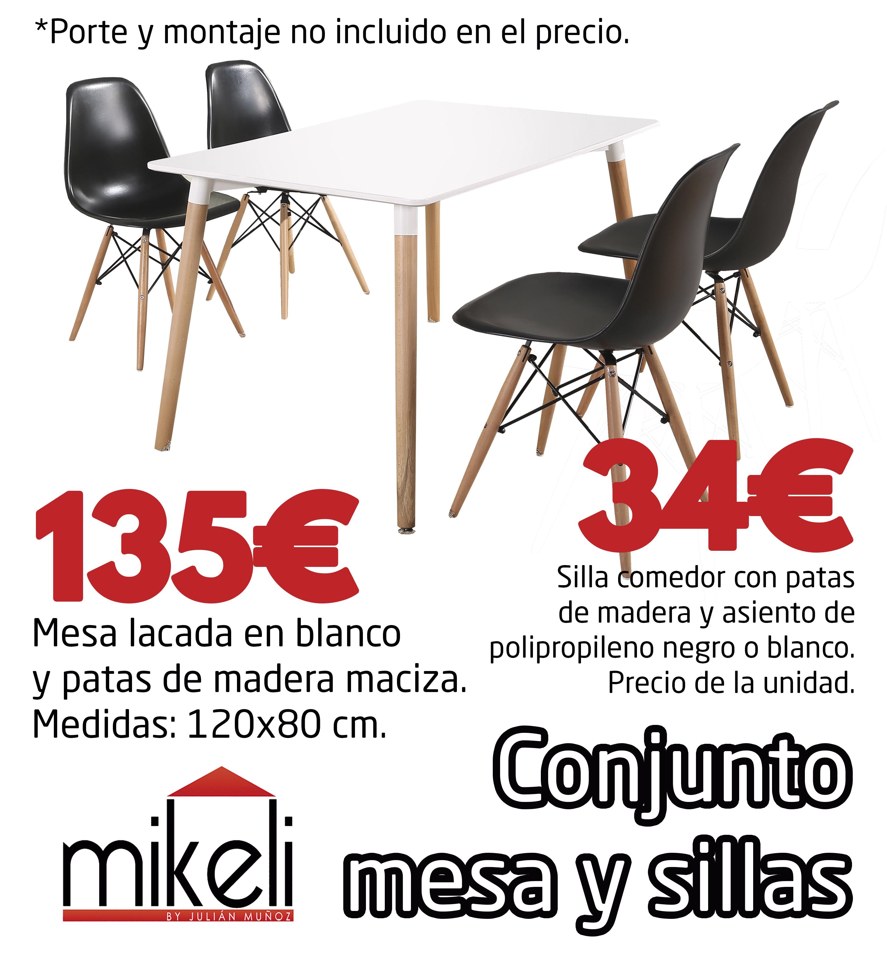 Conjunto Mesa Y Sillas Patas Madera Gilabert Mikeli Tu Tienda  # Muebles Gilabert