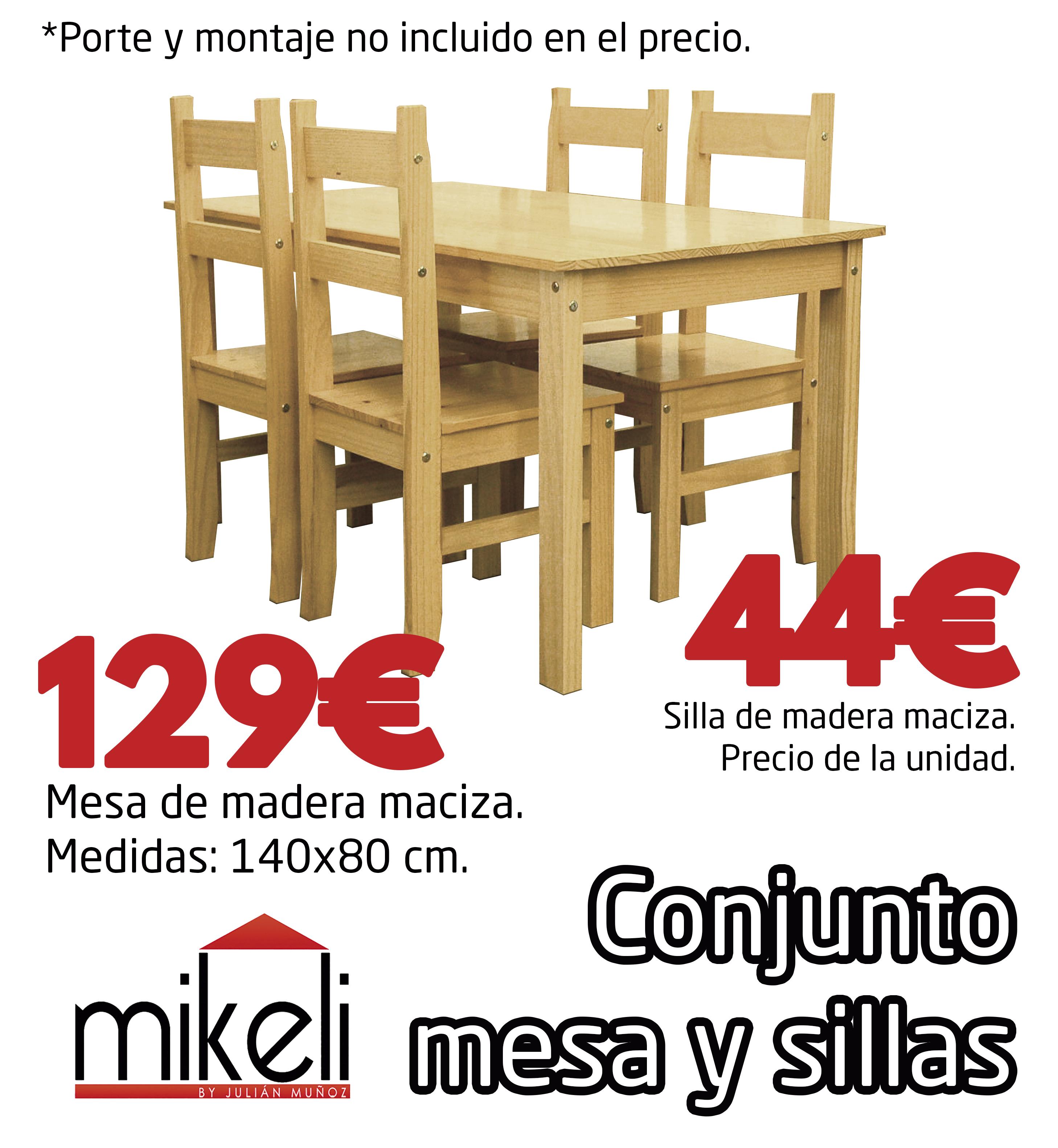 Conjunto Mesa Y Sillas Pino Gilabert Mikeli Tu Tienda De  # Muebles Gilabert