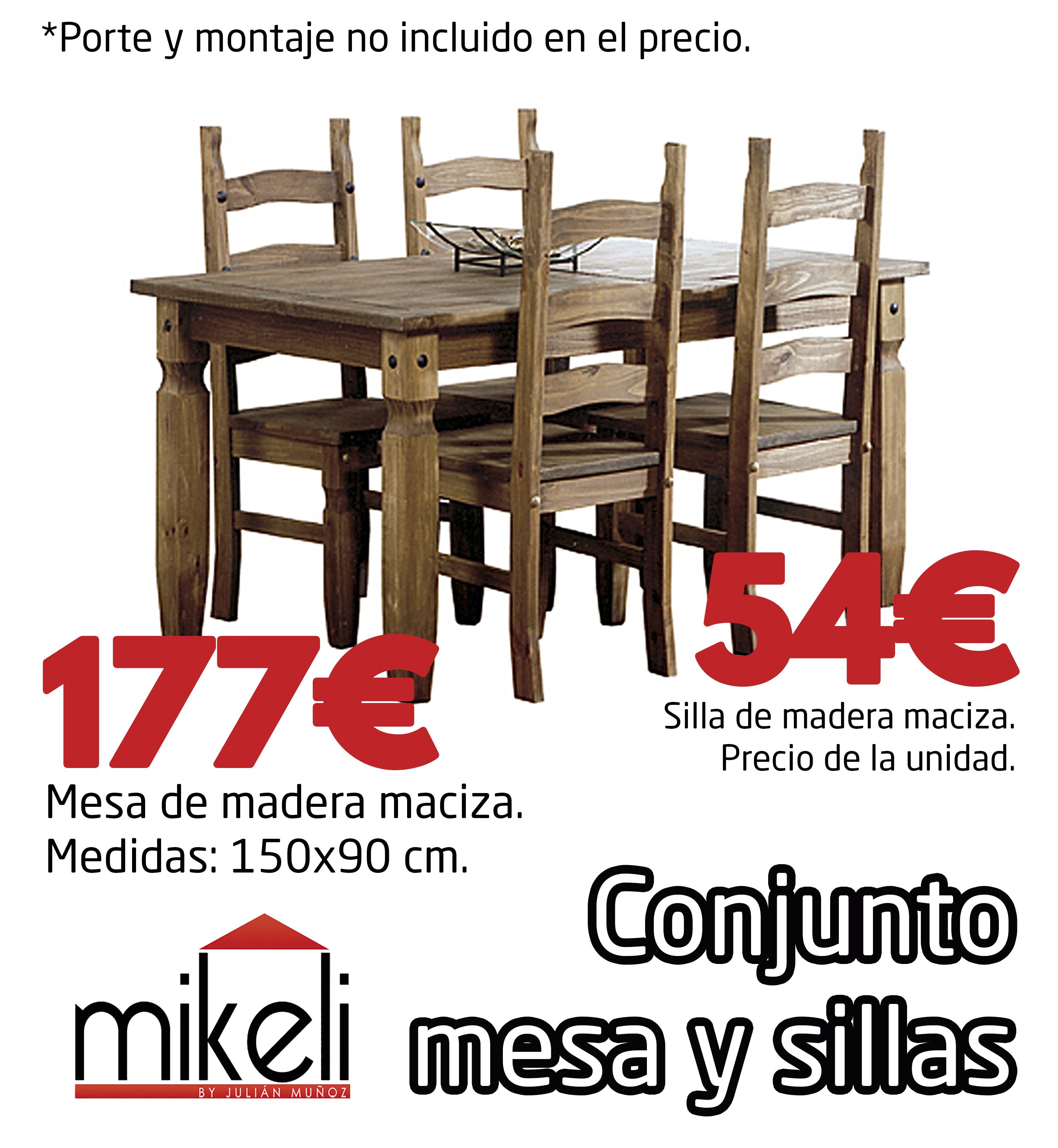 Conjunto Mesa Y Sillas Rustico Gilabert Mikeli Tu Tienda De  # Muebles Gilabert