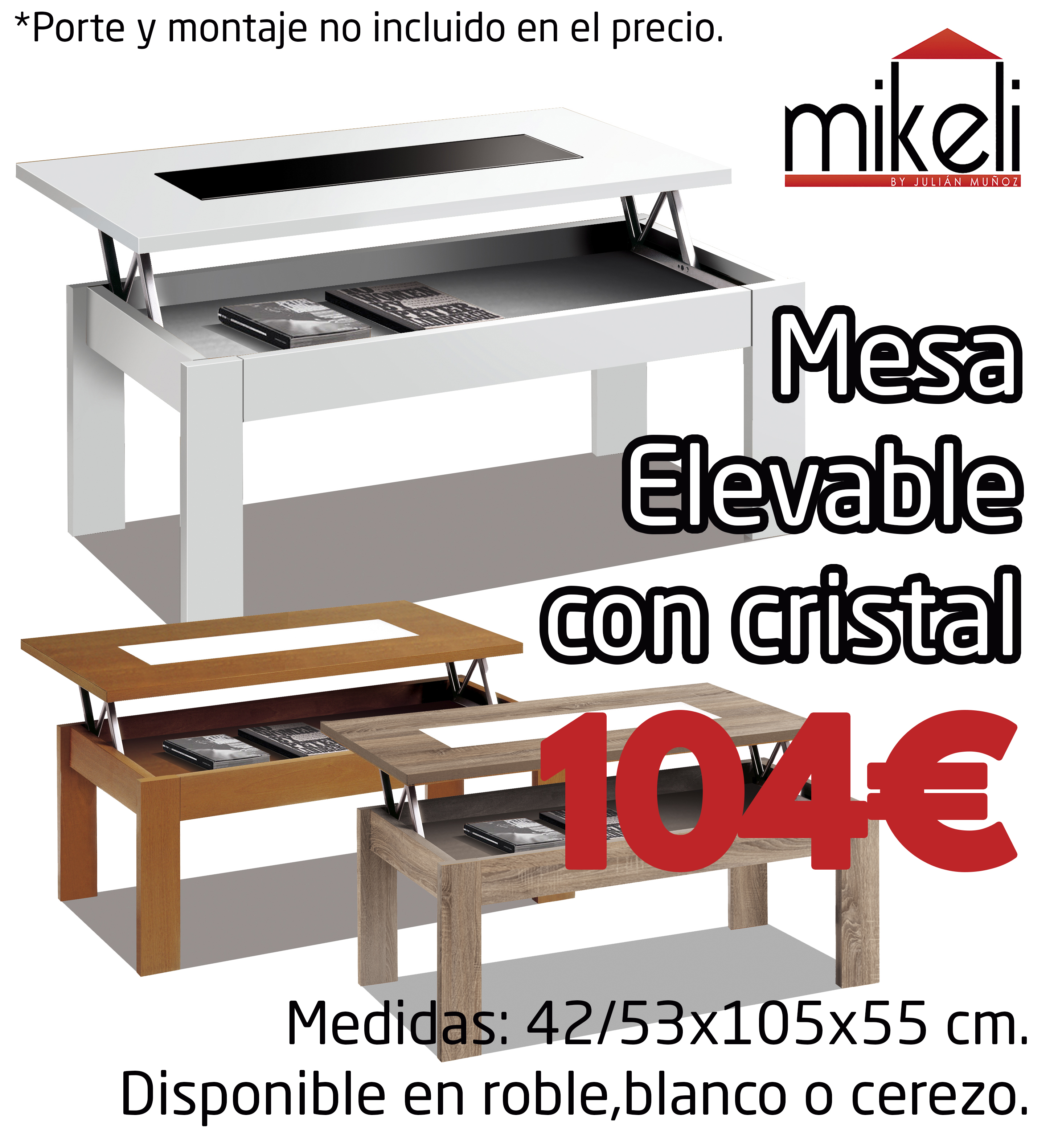 Mesa Elevable Con Cristal Gilabert Mikeli Tu Tienda De Muebles  # Muebles Gilabert